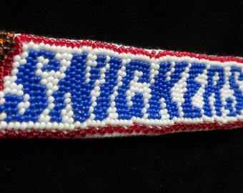 "Bead embroidery bracelet ""SNICKERS"""
