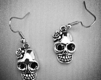 Tibetan Silver Skeleton with flower Earrings
