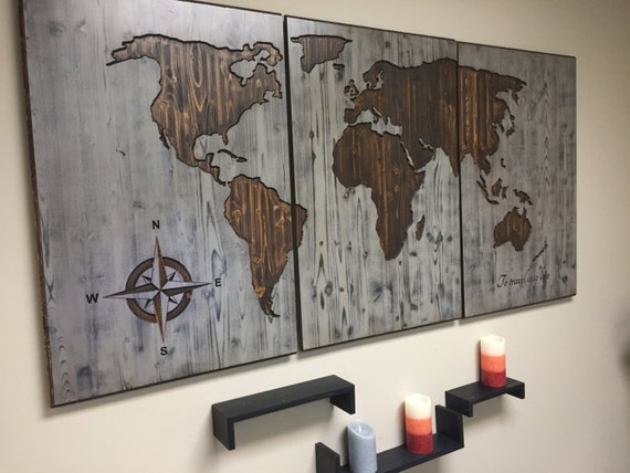 World map wood wall art carved custom home decor wooden