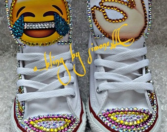Custom bling and pearls emoji converse and FREE matching t shirt