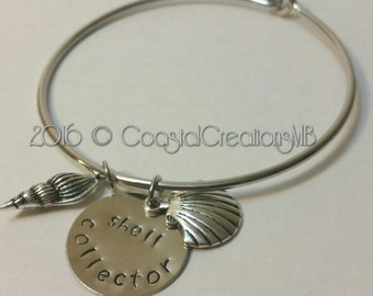 """Hand stamped pendant """"SHELL COLLECTOR"""""""
