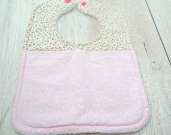 baby and toddler girl handmade cotton and fleece feeding bib, pink flower, floral,