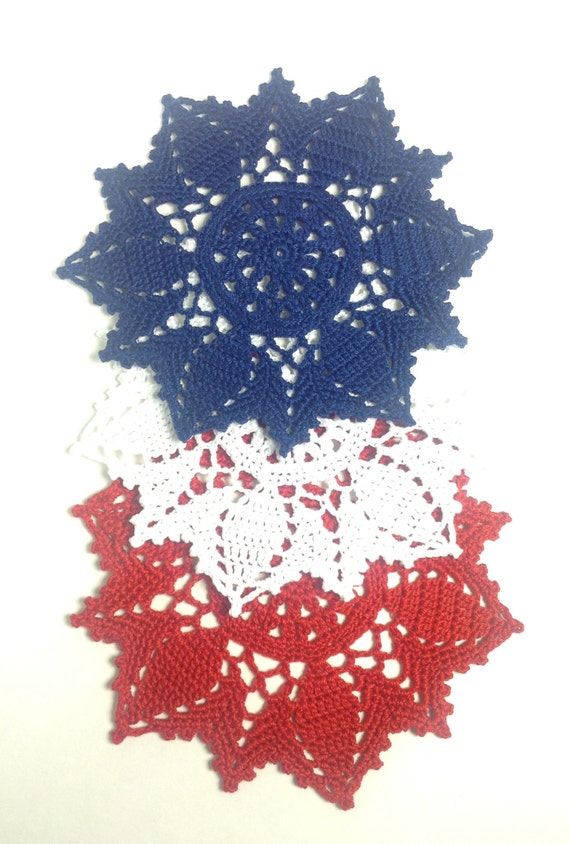 Red White And Blue Star-Shaped Small Doilies Set Of 3