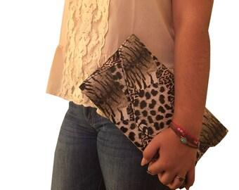 Brown and Cream Tiger Print Envelope Clutch Handbag