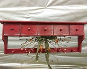 Rustic Red Hanging Wall Shelve