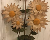 Primitive Sunflowers in Rustic Tin Watering Can