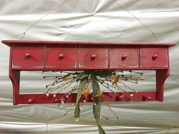 Custom Painted or Stained Rustic Adirondack Hanging Wall Shelve