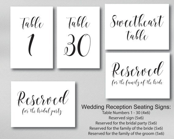 Printable Table Numbers Reserved Seating by ...