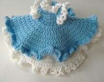 Crocheted Dress For Air Freshener Doll, Blue and White Dress For Doll, Dress For Home Decor, Ruffled Dress For Doll, Decorative Doll Dress