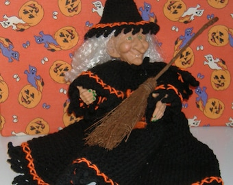 Halloween Witch with Crocheted Dress and Cap - Witch Doll with Black and Orange Dress - Halloween Witch with Broom - Halloween Decor