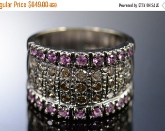 ON SALE 14K 1.34 Ctw Cognac Diamond Pink Sapphire Think Band Ring Size 7 White Gold