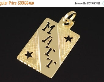 ON SALE 14K Matt Name Tag Charm/Pendant Yellow Gold