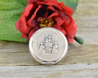 Sterling ANTIQUE Religious-Ave Maria- Highly Detailed Pill Box/Rosary 9.6x27.8mm - 5g - ES980