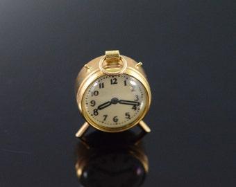 14K Vintage 3D Alarm Clock Charm/Pendant Yellow Gold - EM1677