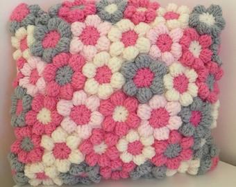 "Crochet Cushion,Kissen, Amorttiguar, Kussen,Cuscino,Coussin, Almofada,  Pink Cream & Grey Flower Couch Pillow Gift 14"" x 13 Christmas gift"