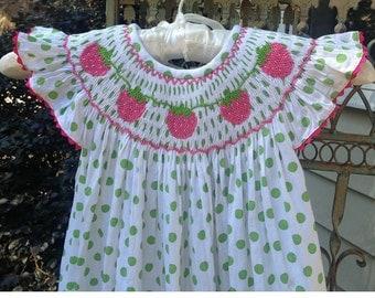 Smocked Strawberry Bishop Dress