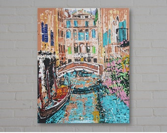 """Venice Cityscape Original Acrylic Painting, """"Venice with Pink and Blue"""", 30 x 24 inches deep edged canvas, expressionist, impressionist"""