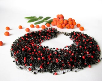 Bead crochet necklace  Black and Red Airy Necklace  Monofil Necklace  Bridesmaid Necklace   Beadwork.Wedding. Mother's day