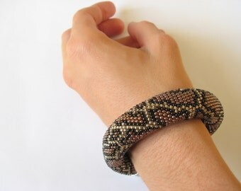 Rope bracelet Python pattern Snake pattern Burmese python Bead Embroidery Crochet bracelet Beaded bracelet fashion embroidery