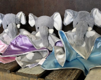 Elephant Bubba with Plush Toy ~ Grey Cloud Minky & Satin Baby Blanket ~ 3 Colors Available