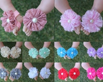 Baby Barefoot Sandals Girl Flower Shoes Newborn Infant Shoes Christening Party Christmas Shoes Photo Prop