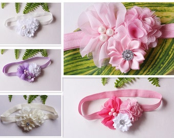 Baby Headband Girl Flower Hair Band Handmade Newborn Photo Prop