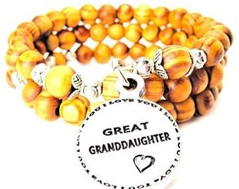 Handmade Great Granddaughter Circle Wrap Around Wood Bracelet