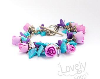 FLOWER BRACELET/ roses bracelet/ polymer clay flowers/ charm bracelet/ polymer clay jewelry/ floral jewelry/ turquoise pink violet