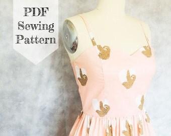 Sweetheart Dress PDF Sewing Pattern- Sloth Sleeveless Women's DIY Tutorial Ladies