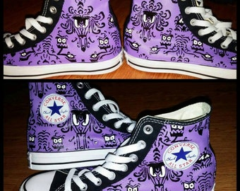 Haunted Mansion Wallpaper Painted Sneakers