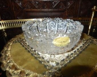 CZECHOSLOVAKIA BOHEMIA CUT Glass Bowl