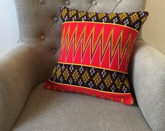Red Yellow Tribal Cushion Cover Zig Zag Chevron Pattern