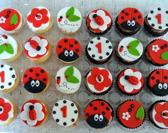 Lady Bug Cupcake Toppers (100% Edible) 1 Dozen