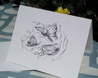 Note Card/ Greeting Card- Dancing Butterflies Note Card N7