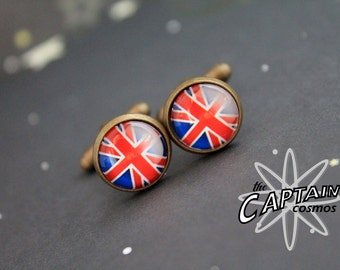 Union Jack cuff links UK British flag geekery red blue