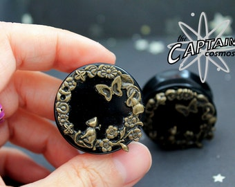 "Cat  butterfly 30mm 1""3/16 plugs gauges brass bodmod"