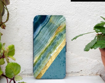 Geometric Samsung Galaxy S5 wallet case, marble print Samsung galaxy s6 wallet case blue yellow colorblock samsung s6 edge wallet