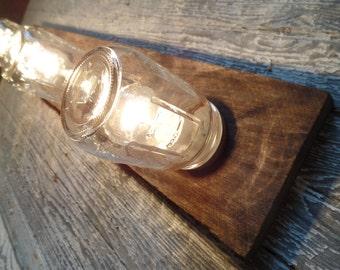 "36"" 4 Mason Jar Light Fixture Country Reclaimed OAK Barn board  Multi Use Vanity/Ceiling Natural Barn Wood Brown"