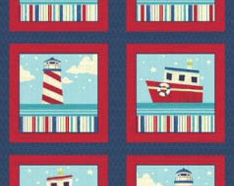 Benartex Ships Ahoy Collection - Navy/Red Ships Ahoy Panel