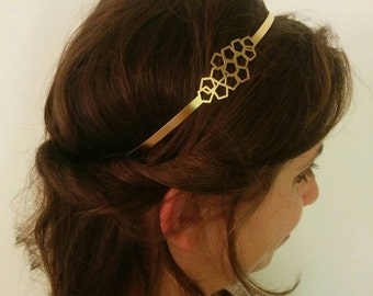 Bridal Headband, Bridal gold Headband, Bridal Headpiece, Geometric Headpiece, Headband, Greek Headband, Honeycomb Headband, Bridal Headband