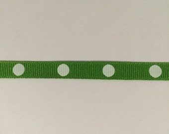 ON SALE 3/8 inch apple and white dippy dots grosgrain ribbon offray