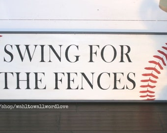 Swing For The Fences Baseball Sign Vintage Style Wood