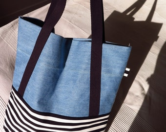 Large bag shopping KENDWI - faded blue jeans and Black & White Stripes - blue, black and white