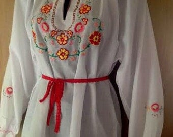 Rustic 100% Cotton hand made Embroidered Hungarian blouse /size L.