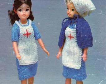Robin 13078 Sindy Dolls Knitting Pattern - Nurse's Outfit ~ (1970s) Doll Clothes (PHOTOCOPY)