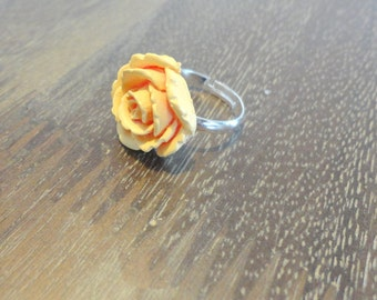 Simple Victorian Peach Rose Flower Silver Ring ~ Upcycle ~ Repurposed