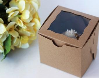 25 Kraft Cupcake Boxes With Window / 4x4x4