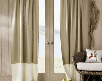 Color Block Curtains,  Color Block Drapery Panel, custon curtains, striped curtains, 17 colors, pick your color