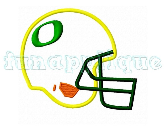 Football helmet oregon applique design for machine