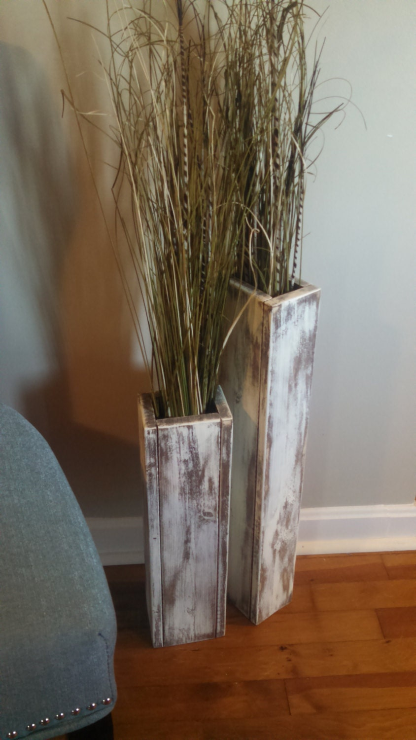 Tall set of two rustic wood floor vases wedding by fortwagler for Floor vase decoration ideas